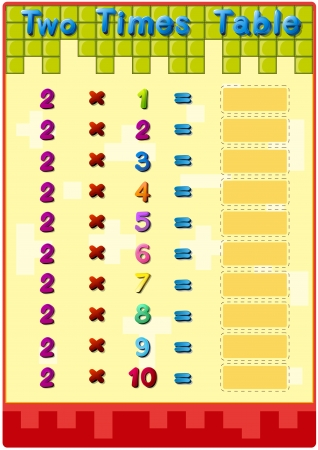 sum: Worksheet of the 2 times tables Illustration