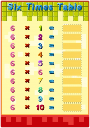 sum: Worksheet of the 6 times tables Illustration
