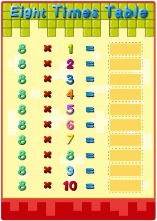 time table: Worksheet of the 8 times tables Illustration