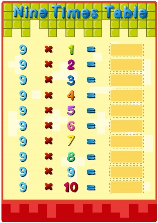 time table: Worksheet of the 9 times tables