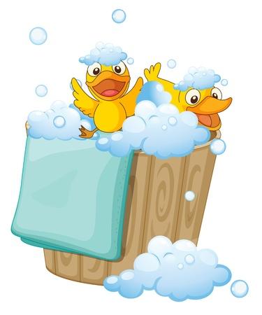 pato de hule: ilustración de patos en un cubo lleno de espuma Vectores