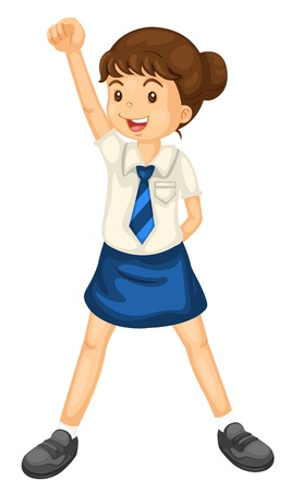 pupils: illustration of a girl in uniform on a white background Illustration