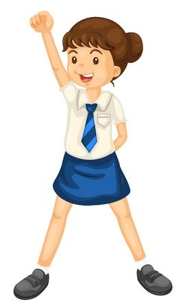 school girl uniform: illustrazione di una ragazza in uniforme su uno sfondo bianco Vettoriali