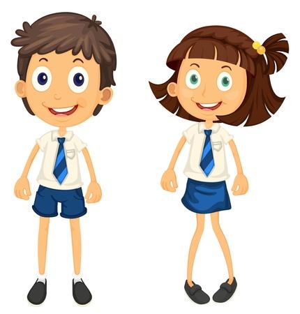school girl uniform: illustrazione di un bambini con matita su uno sfondo bianco Vettoriali