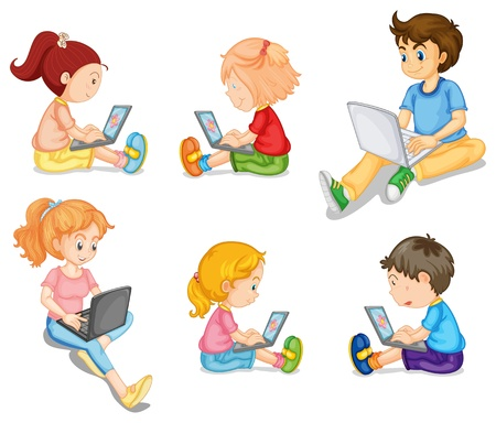 girl laptop: Illustration of mixed kids on white Illustration