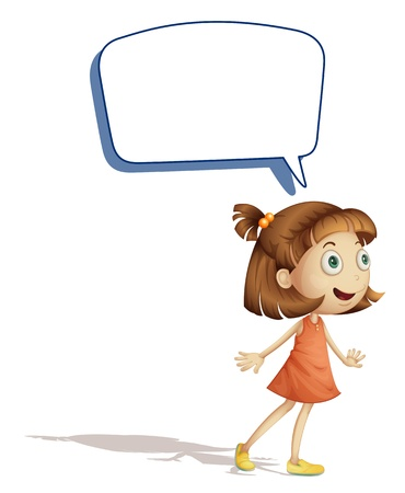 speaking: illustration of a girl and call out on a white background
