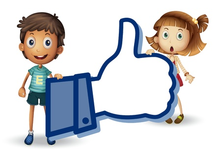 illustration of a kids and thumb on a white background Vector