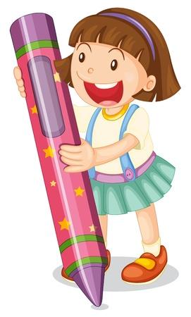 Illustration of a girl with large crayon Ilustração