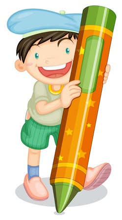 illustration of a boy with pencil on a white background Stock Vector - 14922861