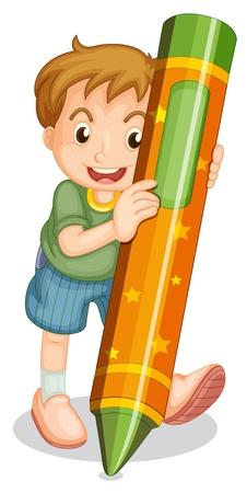 pencil cartoon: Illustration of boy with large crayon Illustration