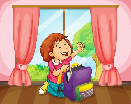 cartoon window: illustration of a girl with bag in room near a window Illustration
