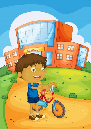 plant stand: illustration of a boy and bicycle infront of school building