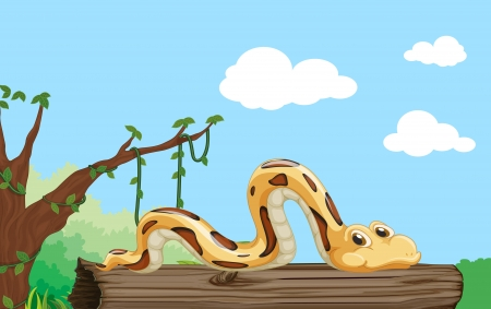 Illustration of a snake on a log Vector