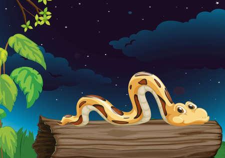 python: Illustration of a snake on a log