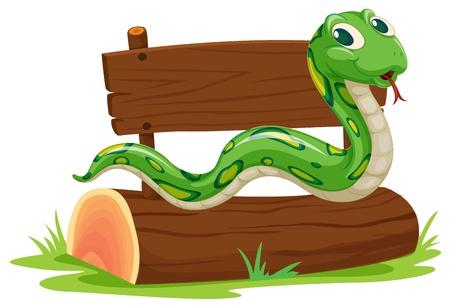 anaconda: Illustration of a snake on a log