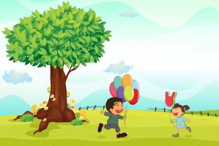 bunch flowers: illustration of kids playing outdoor in the nature Illustration