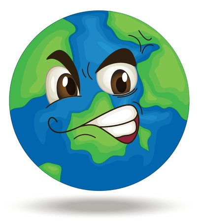 cartoon world: Illustration of a globe face