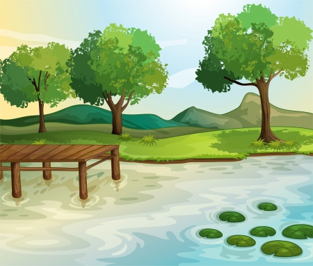 pond water: Illustration of a lake scene