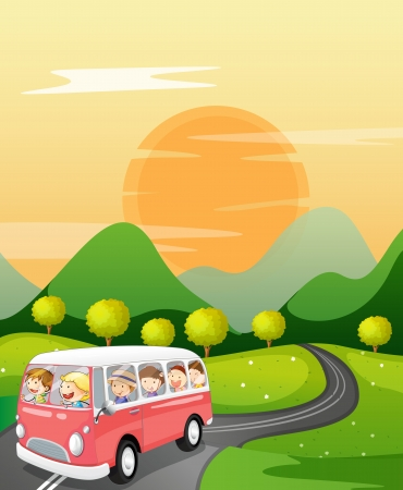 sun road: illustration of kids in a bus in beautiful nature Illustration
