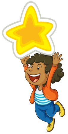 illustration of a girl holding a big star Vector