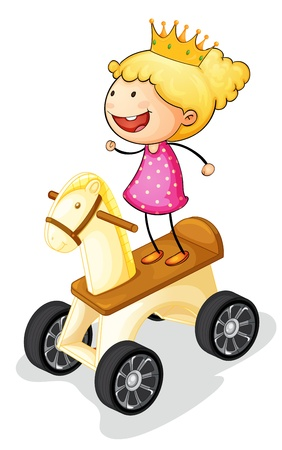 illustration of a girl on toy horse Vector