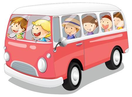 ilustración de los niños en un autobús en el fondo blanco