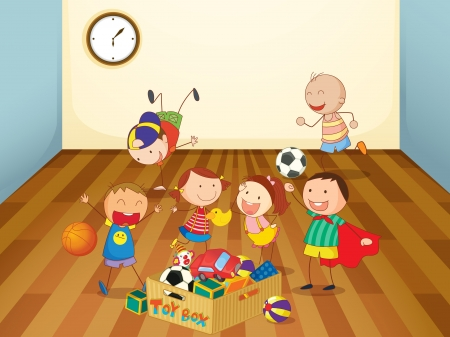 illustration of kids playing in a room Vector