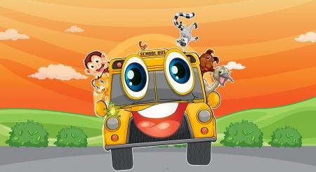 emu: ilustración de diversos animales en el autobús escolar