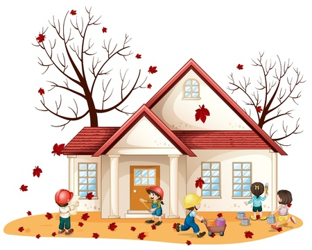 young worker: illustration of kids cleaning house on whie background Illustration