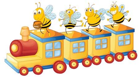 illustration of honey bess on train and honey pot Stock Vector - 14922910