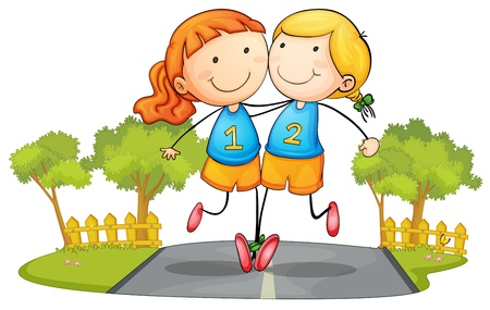 illustration of two girs running on road Vector
