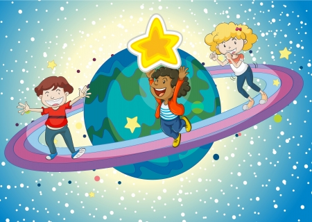 little girl smiling: illustration of kids on planet saturn and rings