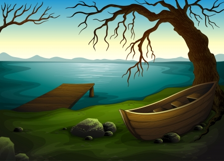 row boat: Detailed illustration of a lake scene