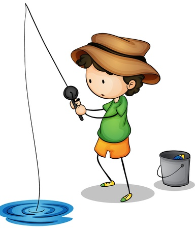 young boy in pool: Illustration of a young fisherman