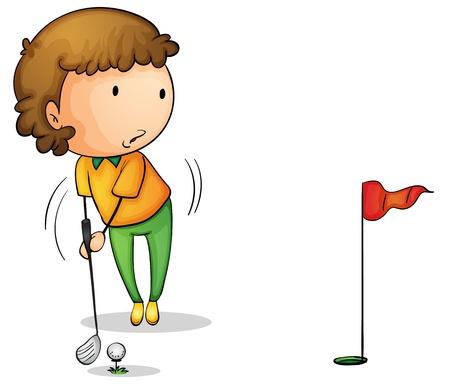 ni�o dibujo animado: Ilustraci�n de un golfista joven