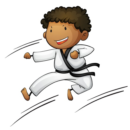 martial artist: Illustration of a young martial artist Illustration