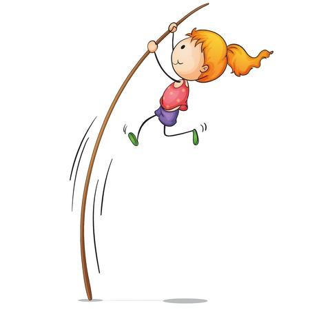flexibility: Illustration of young pole vaulter Illustration