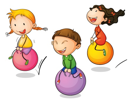 bouncing: Illustration of three bouncing kids