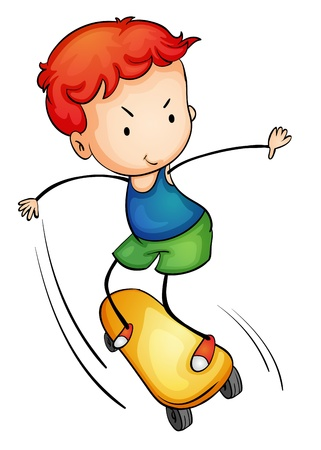 Illustration of a young skateboarder Vector