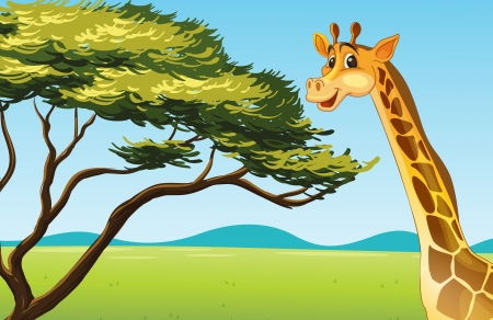cute cartoon monkey: Illustration of a giraffe eating