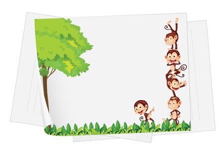 Illustration of monkeys on a piece of paper Vector