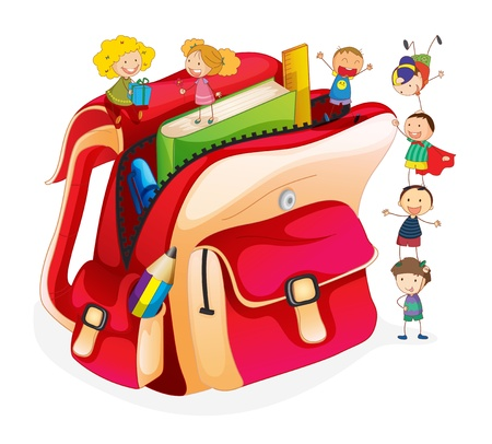 pupil: Illustration of tiny students and a schoolbag