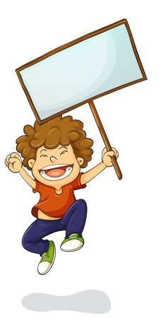 child holding sign: Illustration of a young kid holding a sign