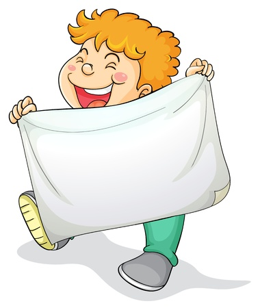 blank expression: Illustration of boy and a banner Illustration