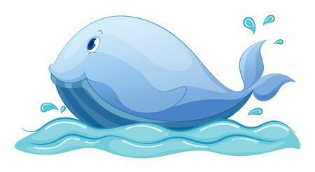 Illustration of a whale in water Vector