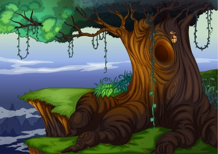 fairytale background: Illustration of a detailed tree hollow