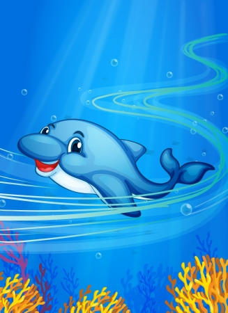 sea mammal: Illustration of a dolphin swimming