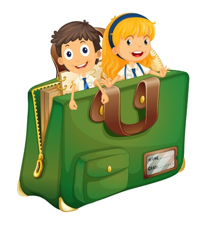 Illustration of kids in a schoolbag Stock Vector - 14988852
