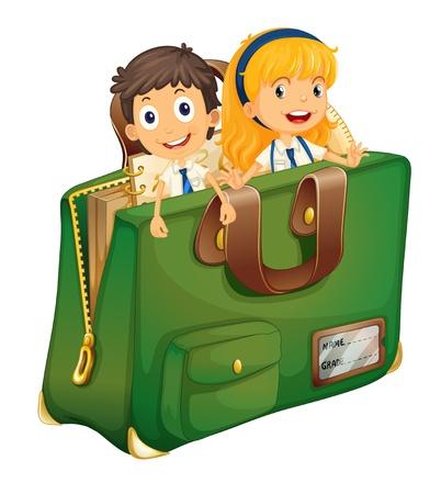 Ilustración de los niños en una mochila Ilustración de vector