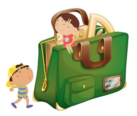innocent girl: Illustration of kids around a schoolbag
